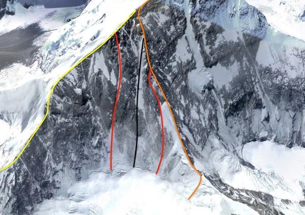 Эверест Северо-Восточная стена. Черная линия показывает уже существующий маршрут, красные линии показывают два возможных новых варианта маршрута, <br>оранжевая линия  - Северный хребет; <br>желтая линия  - Северо-Восточный хребет