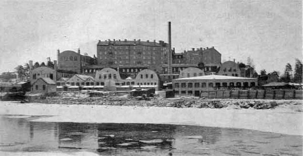 Вид на завод Primus на острове Lilla Essingen в Стокгольме. Фото 1929 года.