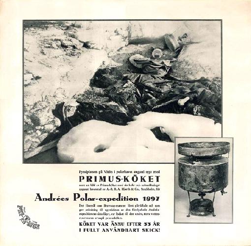 Плакат посвященный горелке Primus найденной исправной через 33 года  после гибели полярной экспедиции Саломона Анри 1897 года
