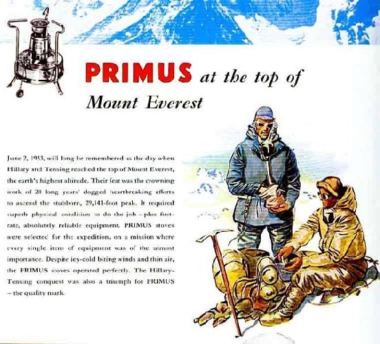 Рекламный постер Primus посвященный первому успешному восхождению на Эверест