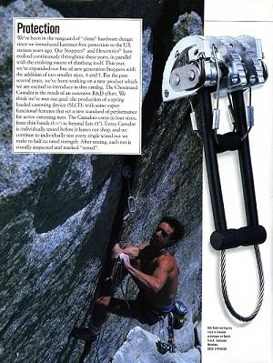 Camalot на странице из каталога  Chouinard Equipment 1987 года