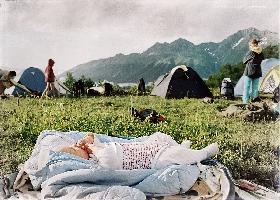 Палаточный лагерь на высоте 2000 м, Красная поляна, Кавказ (Амелии 2,5 месяца)
