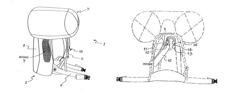 Рисунок-схема к патенту лавинного рюкзака Arc