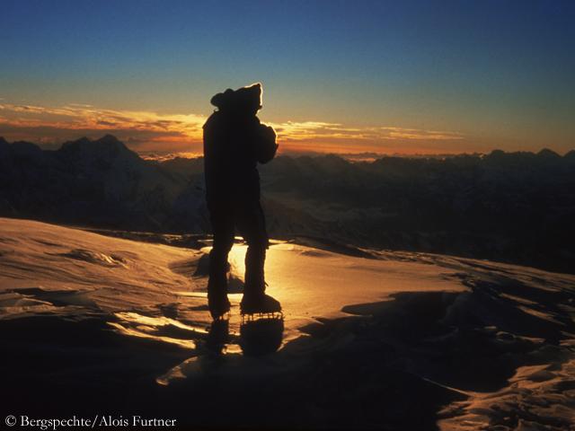 Эди Коблмюллер (Edi Koblmüller) на вершине Чо-Ойю. 1978 год. Фото Alois Furtner