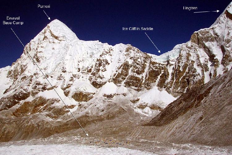 Место схода самой большой лавины - между Пумори и Лингтрен