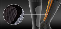 Толстые носки являются неплохим амортизатором в случае удара ноги, или даже при давлении голенища высокого ботинка. Но их воздухопроводность снижается. Компромиссным решением являются своего рода набивные стержни, прекрасно проводящие воздух и защищающие голень.