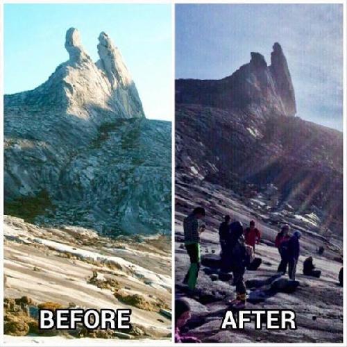 гора Кинабалу (Kinabalu) до и после землетрясения