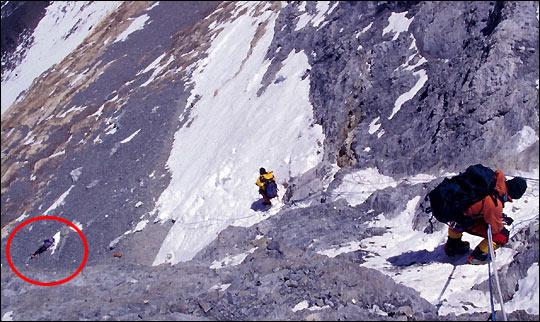 Тело Френсис Дистефано (Francys Distefano-Arsentiev), завернутое в флаг на склоне Эвереста