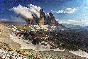 Горы в сюрреалистических фотографиях нейронной сети Deep Dream Google