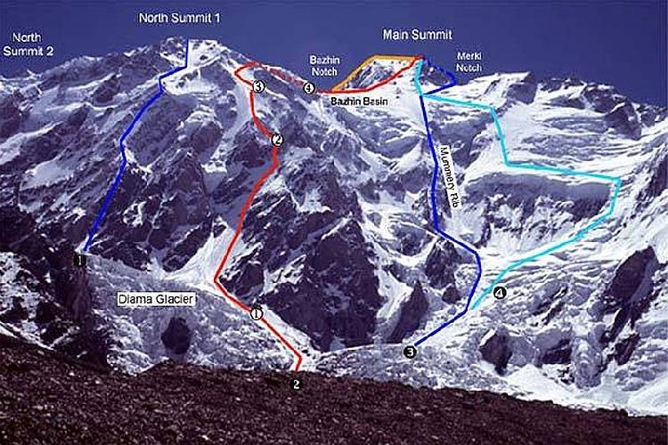 Нангапарбат (Nanga Parbat, 8126 м). Стена Диамир. Маршрут Месснера под №4