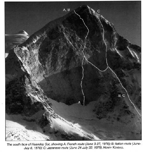 Хуандой Сюр (Huandoy Sur, 6160 м) Южная стена. А - Французский маршрут 1976 года. В - Итальянский маршрут 1976 года С - Японский маршрут 1976 года