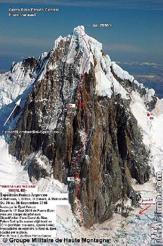 """маршрут """"Hasta las Webas"""" на гору Ризо Патрон Центральная (Cerro Riso Patrón Central )"""