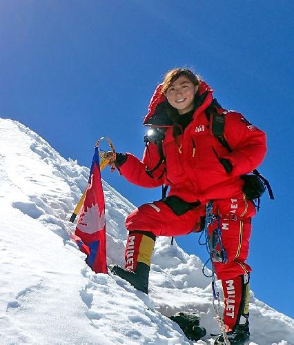 Марин Минамия на вершине Манаслу