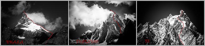 Слева на право: гора Бхала (Bhala / Spear) 5900 м, гора Тупендео (Tupendeo) 5700 м и гора Те (Te) 5900 м маршруты первопрохождения Швейцарской команды Томас Сенф (Thomas Senf), Штефан Сигрист (Stephan Siegrist) и Дрес Абегглен (Dres Abegglen)