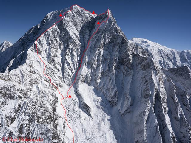 Маршрут первопрохождения австрийской команды по Южной стене горы Нилгири Южная