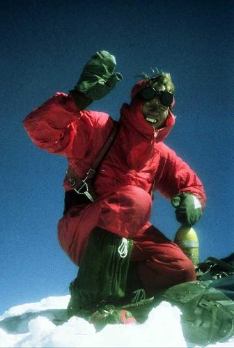 Нек Заплотник (Nejc Zaplotnik) на вершине Макалу. 1975 год, югославская экспедиция