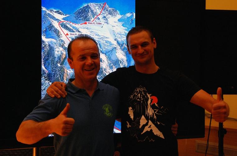 Ячек Чех (Jacek Czech) и Адам Белецкий (Adam Bielecki) на презентации экспедиции, ноябрь 2015