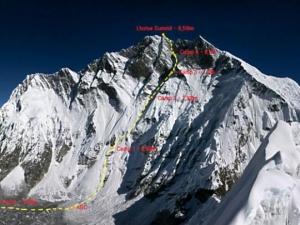 Осень 2015 на восьмитысячниках Гималаев: корейская команда на отметке 8200 метров на Южной стене Лхоцзе