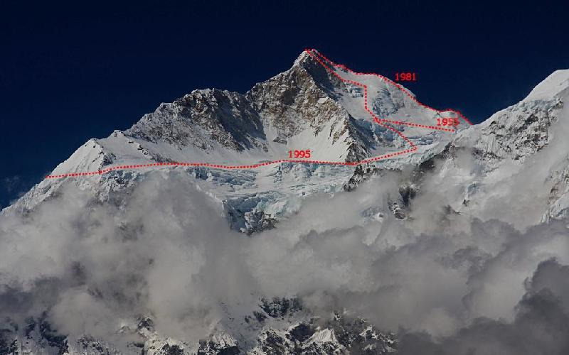 Вторая часть маршрута японской команды 1995 года. Траверс и выход на вершину через Северо-восточный гребень