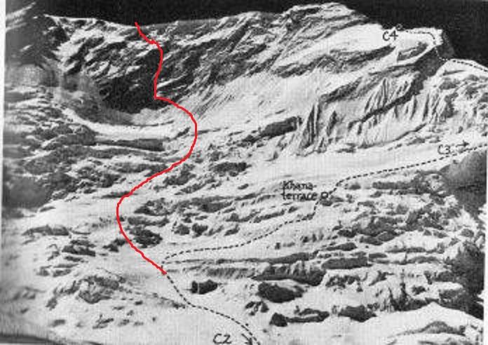 Северо-Западная стена Манаслу. пунктиром отмечен японский маршрут 1971 года. Красной линией - предполагаемый маршрут будущих экспедиций