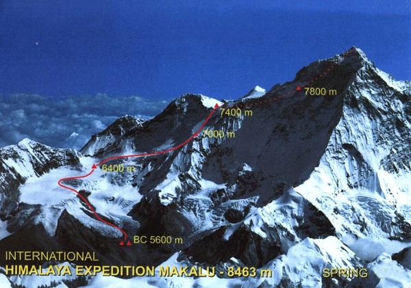 Макалу. Маршрут 1955 года. Участок до седловины Макалу-Ла (Makalu La) и далее к вершине