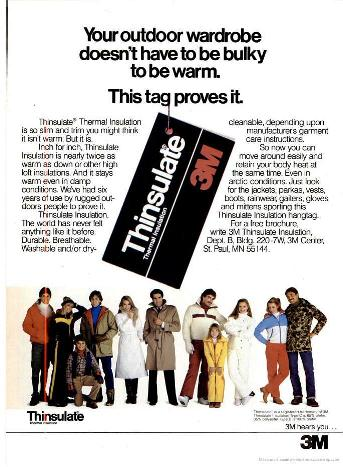 Реклама 3М иллюстрирующая широту пения Thinsulate