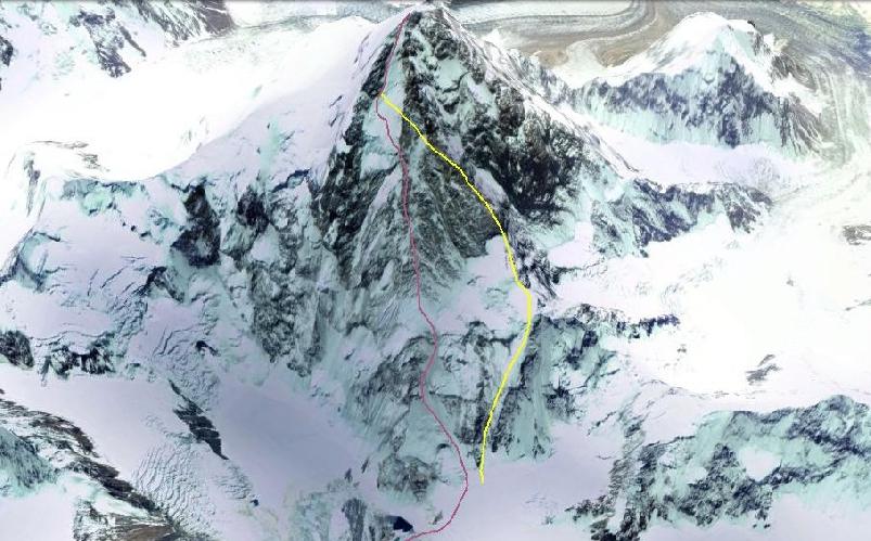 К2 с Севера. Красной линией обозначен маршрут 1982 года. Желтой линией - японский маршрут 1990 года