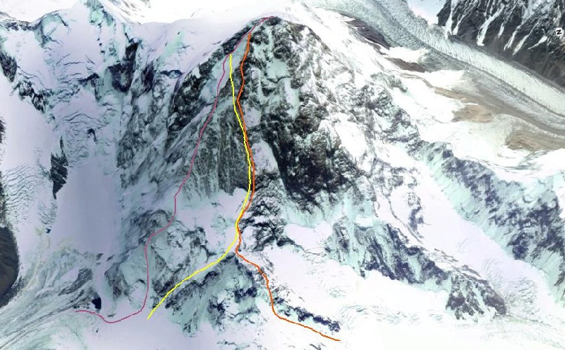 Фиолетовым цветом обозначен маршрут 1982 года. Желтым цветом - маршрут 1982 года. Оранжевым цветом - маршрут 1991 года