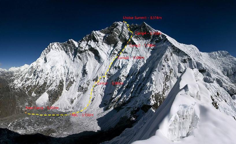 Планируемый маршрут Сунга на Южной стене Лхоцзе. 2017 год