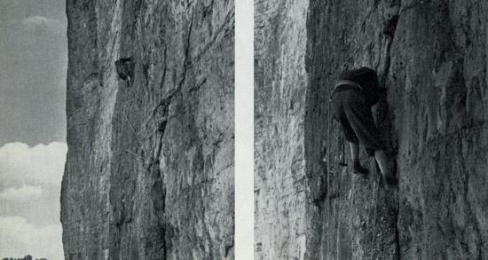 Джузеппе Димаи с первой экстремально длинной веревкой на северной стене Гроссе Цинне.  Эти восхитительные фотографии были сделаны Б. Гедина во время первых попыток  подъема на стену.