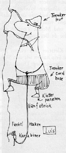 А так видит его наш румынский художник Вальтер Каргель.  Подписи: «шляпа Тренкера», «вельветовые брюки Тренкера», кошки для лазания, пеньковая веревка,  крюк Фьектля,  карабин