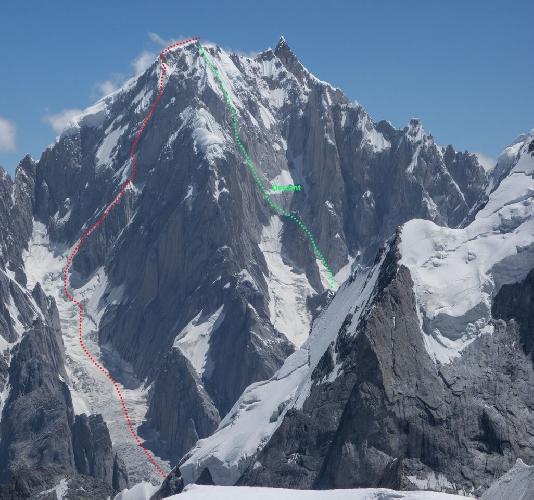 "Линк Сар (Link Sar). маршрут ""Fever Pitch"" на Западную вершину. Красный цвет - маршрут восхождения, зеленый цвет - маршрут спуска"