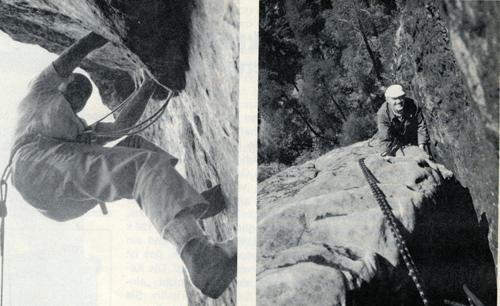 Фриц Висснер в Эльбских Песчаниковых горах, слева: 1977 год, склон долины Хиршгрундкегель (VI); справа: 1978 год, на южной стене Хёлленхунд (Vlla). Фото: Х. Л. Штутте, Д. Хассе