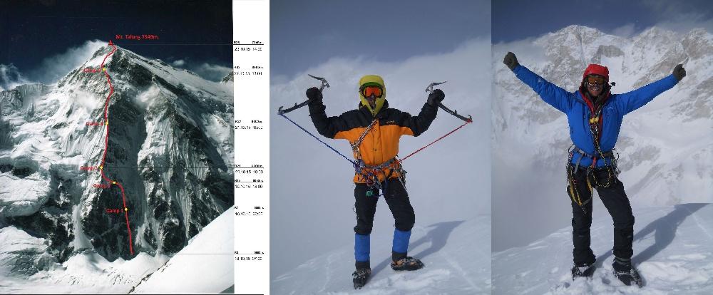 Техническое фото маршрута «Папа Высшая сила» по Северо-Северо-Западному контрфорсу пика Талунг (7349м.)  Никита Балабанов и Михаил Фомин на вершине горы Талунг