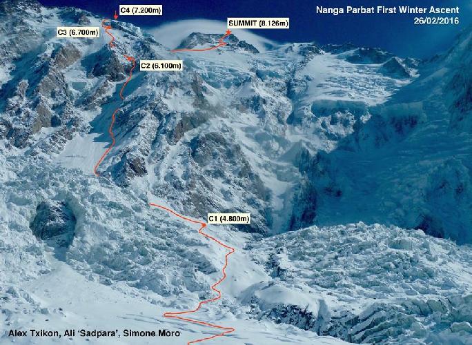 Путь к вершине зимней Нангапарбат