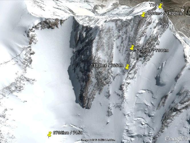 на отметке чуть более 8000 метров