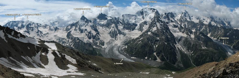 Панорама ущелья Адыл-Су (Кавказ, Россия).