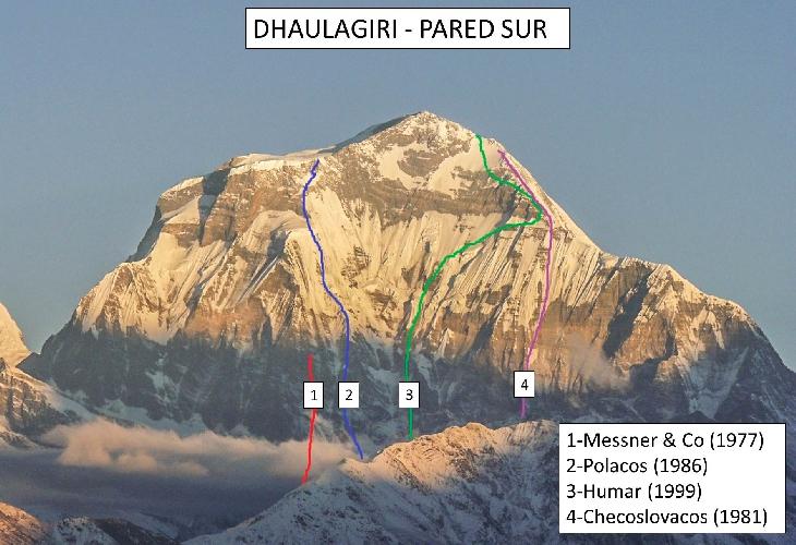Дхаулагири, Южная стена и попытки ее пройти