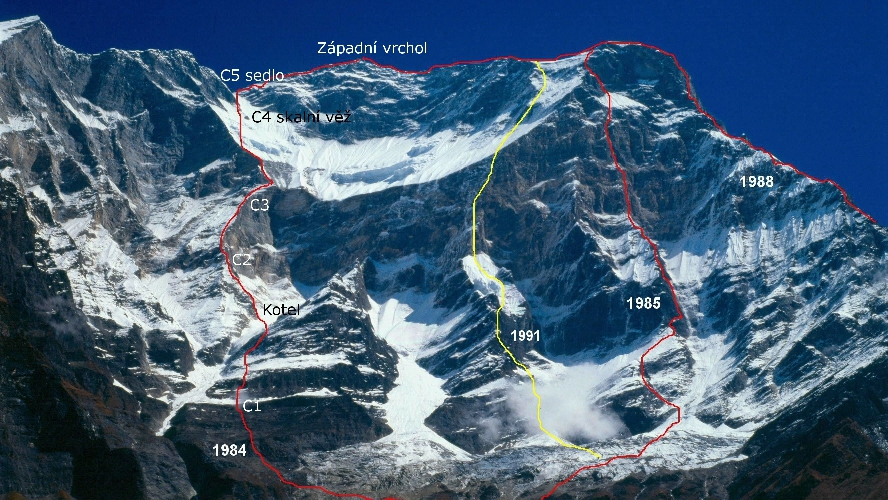 Дхаулагири. Западная стена. Чехословацкий маршрут 1984 года - отмечен красной линией