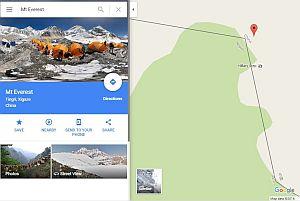Google утверждает, что Эверест находится в Китае