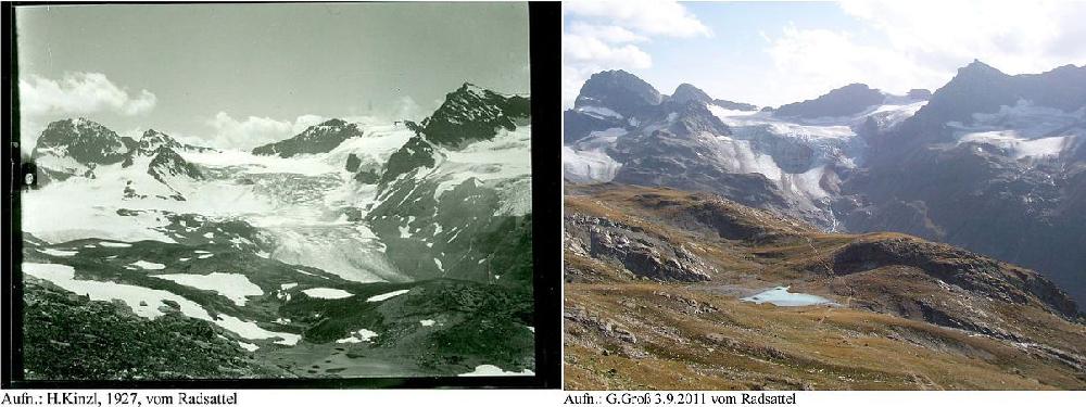 Ледник Ochsentaler в 1927 и 2011 году
