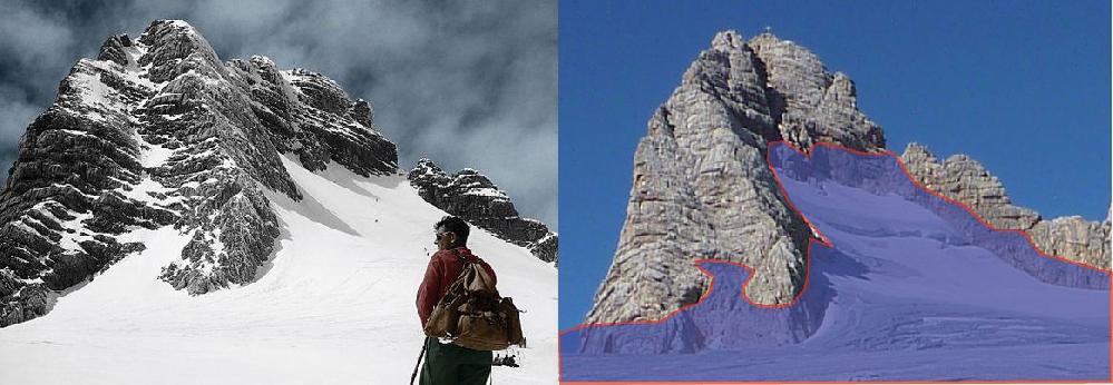 Ледник Hallstätter: в 1930 и 2011 году (край ледника - красная линия в 1930 году)