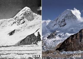 Ледник Западный Ронгбук (West Rongbuk Glacier) у Эвереста. В 1921 и 2008 годах