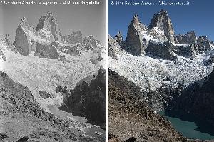гора Фицрой (Патагония) в 1945 и 2016 годах
