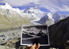 Эверест со стороны Тибета - сравнение сегодняшней ситуации с фотографией Джорджа Мэллори 1921 года