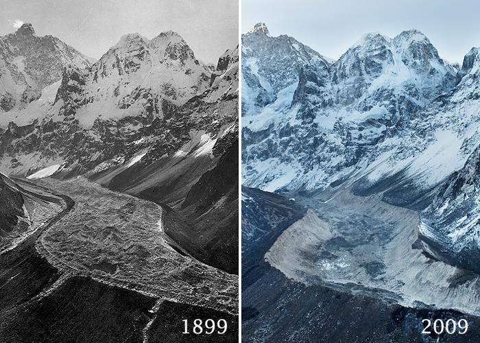 Ледник Жанну (Jannu Glacier), Непал. В 1899 и 2009 годах