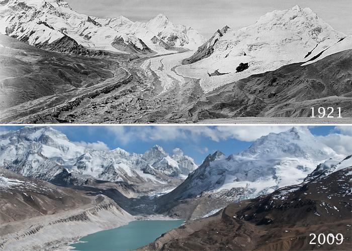 Лденик Кайтрак (Kyetrak Glacier) у восьмитысячника Чо-Ойю. В 1921 и 2009 годах
