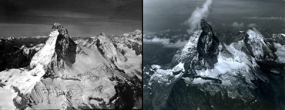 Гора Маттерхорн, Италия/Швейцария  Сильно видоизменилась за последние 45 лет и гора Маттерхорн, расположенная на границе Италии и Швейцарии. 4478-метровая громада – одно из самых экстремальных альпинистских направлений – значительно убавила в «весе». По мнению итальянского метеоролога Луки Меркали, исследовавшего поведение горы за последние десятилетия, таяние льда значительно ускорилось летом 2003 года – из-за аномально теплой погоды. А одними из самых серьезных последствий этой тенденции стали трещины в скалах и камнепады