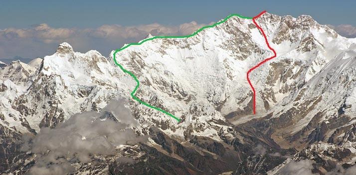 Канченджанга. Западное ребро. Зеленым цветом отмечен будущий вариант маршрута. Красным цветом  - стандартный маршрут восхождения 1955 года