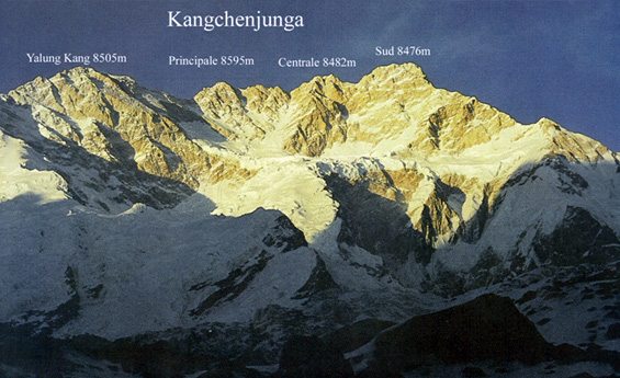 Канченджанга и ее спутники. Вид на Южную стену